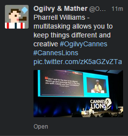 Ogilvy & Mather tweet about Pharrell Williams